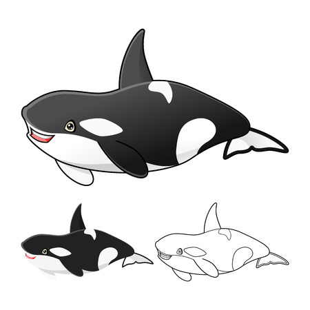 'killer whale': High Quality Killer Whale Or-Ca Cartoon Character include Flat Design and Line Art Version Vector Illustration