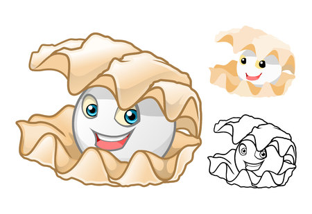 pearl: High Quality Pearl Shell Cartoon Character Include Flat Design and Line Art Version Vector Illustration