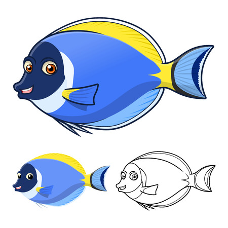 High Quality Powder Blue Surgeon Fish Cartoon Character Include Flat Design and Line Art Version Vector Illustration