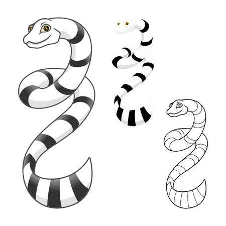 High Quality Sea Snake Cartoon Character Include Flat Design and Line Art Version Vector Illustration Illustration