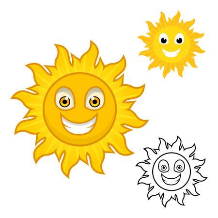 afternoon: Sun Cartoon Character Include with Flat Design and Outlined Version Vector Illustration