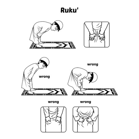 bowing: Muslim Prayer Position Guide Step by Step Perform by Boy Bowing and Hands Holding The Knee with Wrong Position Outline Version Illustration