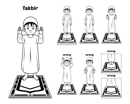 perform: Muslim Prayer Position Guide Step by Step Perform by Boy Standing and Raising The Hands with Wrong Position Outline Version Illustration Illustration