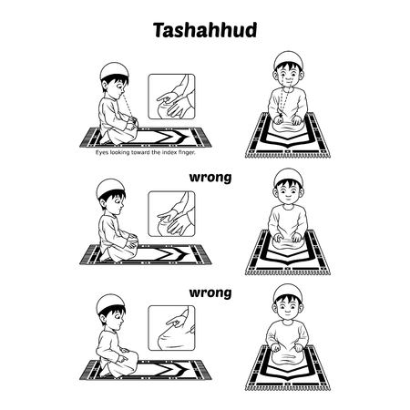 Muslim Prayer Position Guide Step by Step Perform by Boy Sitting and Raising The Index Finger with Wrong Position Outline Version Illustration