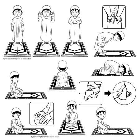 Complete Set van de islamitische gebed positie Guide Stap voor stap uitvoeren van Boy Outline Versie Illustratie