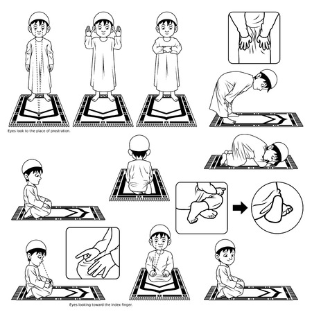 Set completo di Guida posizione di preghiera musulmana Step by Step Eseguire da Boy Outline Versione Illustrazione
