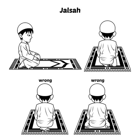 perform: Muslim Prayer Position Guide Step by Step Perform by Boy Sitting Between The Two Prostrating and Position of The Feet with Wrong Position Outline Version Illustration