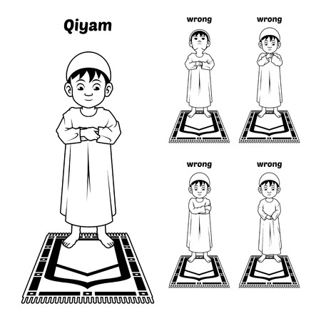 recite: Muslim Prayer Position Guide Step by Step Perform by Boy Standing and Placing Both Hands with Wrong Position Outline Version Illustration
