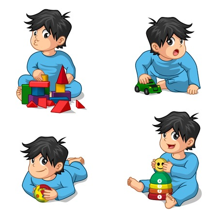 baby sit: Babies Playing Toys Cartoon Character Illustration