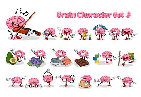 Set of Brain Cartoon Character Three Illustration