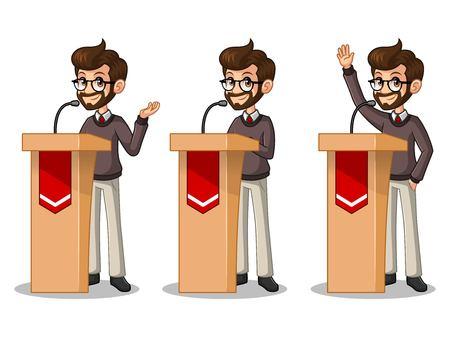 rostrum: Set of hipster businessman cartoon character design politician orator public speaker giving a talk speech presentation standing behind rostrum podium.