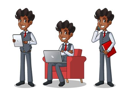 Set of businessman in vest cartoon character design working on gadgets, tablet, and more.