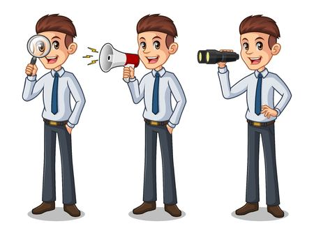 Set of businessman in shirt cartoon character design, looking through binoculars.