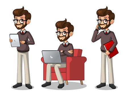 Set of hipster businessman cartoon character design working on gadgets, tablet, and more.