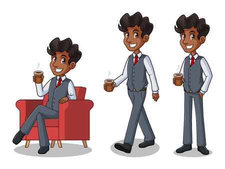 Set of businessman in vest cartoon character design making a break relaxing with holding drinking a coffee tea. Illustration