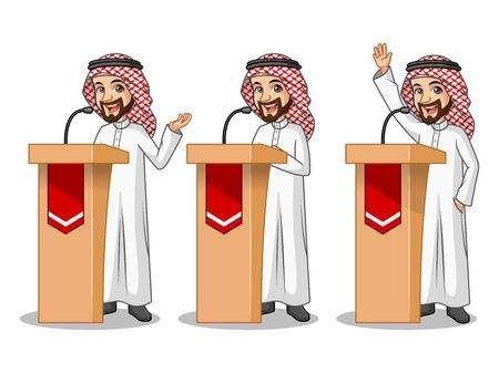 Set of businessman Saudi Arab man cartoon character design politician orator public speaker giving a talk speech presentation standing behind rostrum podium.
