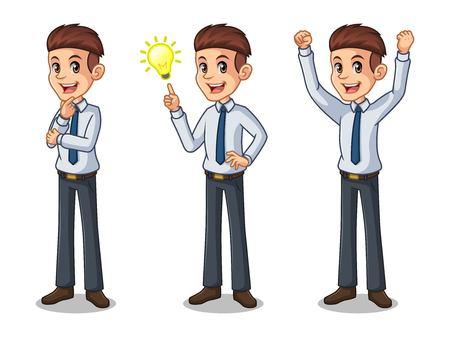 Set of businessman in shirt cartoon character design get great idea inspiration light bulb.