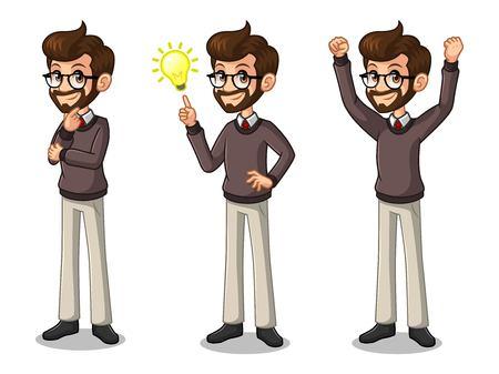 Set of hipster businessman cartoon character design get great idea inspiration light bulb. Ilustração