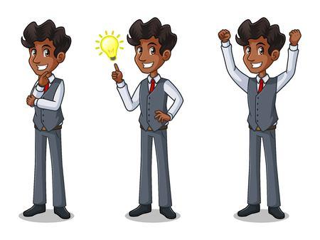 Set of businessman in vest cartoon character design get great idea inspiration light bulb.