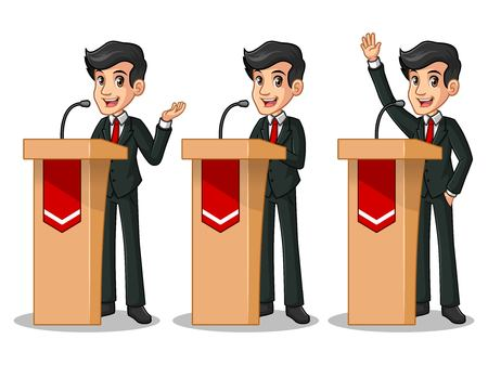 Set of businessman in black suit cartoon character design politician orator public speaker giving a talk speech presentation standing behind rostrum podium.