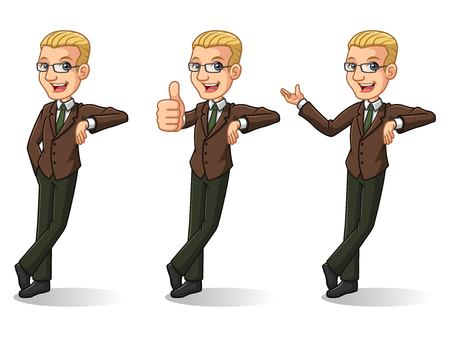 Set of blonde businessman in brown suit leaning against the wall, isolated on white background.