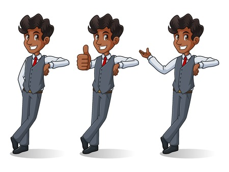 Set of businessman in vest cartoon character design stand leaning against, isolated against white background.