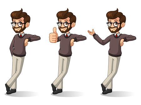 Satz des Hippie-Geschäftsmannzeichentrickfilm-figur-Designstandes, der an, getrennt gegen weißen Hintergrund sich lehnt.