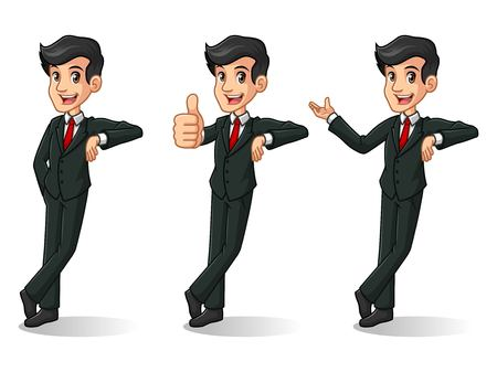 Set of businessman in black suit cartoon character design stand leaning against, isolated against white background.