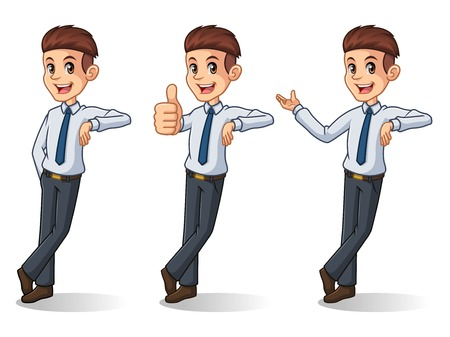 Set of businessman in shirt cartoon character design stand leaning against, isolated against white background.