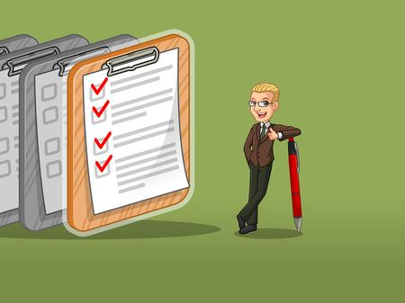 Blonde businessman in brown suit cartoon character design leaning a pen with completed checklists on paper, against green background. Illustration