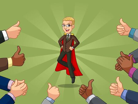 Blonde superhero businessman in brown suit cartoon character design with many thumbs up and clapping hands around him, against green background. Illustration