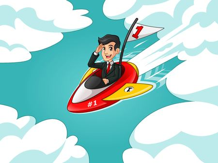 Businessman in black suit cartoon character design riding a rocket with number one flag flying through the sky, against tosca background.