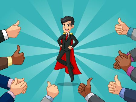 Superhero businessman in black suit cartoon character design with many thumbs up and clapping hands around him, against blue background.