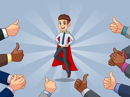Superhero businessman in shirt cartoon character design with many thumbs up and clapping hands around him, against blue background. Illustration