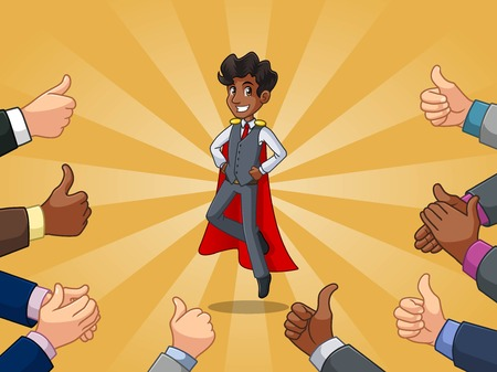 Superhero businessman in vest cartoon character design with many thumbs up and clapping hands around him, against blue background.