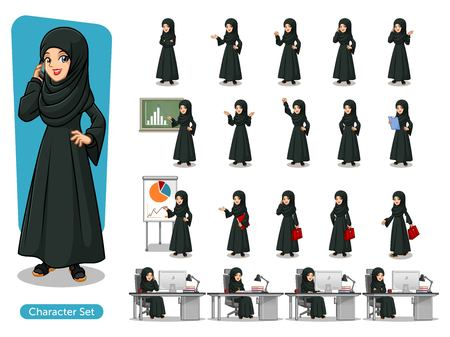 Set of Arab businesswoman in black dress cartoon character design with different poses, isolated against white background. Illustration