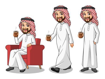 Set zakenman Saoedi-Arabische man cartoon karakter bedrijf een kopje koffie of thee, geïsoleerd tegen een witte achtergrond.