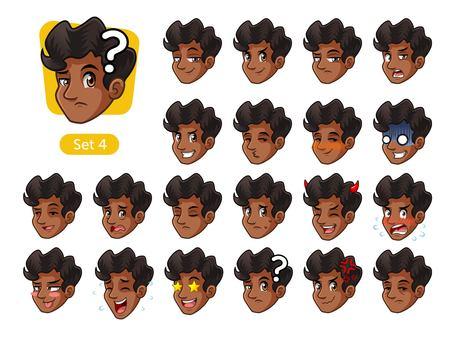Set van mannen gezicht met verschillende emoties pictogram.