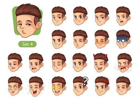 Aantal mannen met verschillende emoties pictogram.