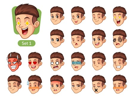 Set of men with different emotions icon.