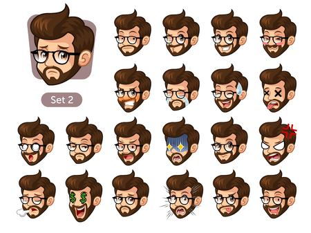 The second set of bearded hipster facial emotions cartoon character design with glasses and different expressions, sad, tired, angry, die, mercenary, disappointed, shocked, tasty, etc. vector illustration.
