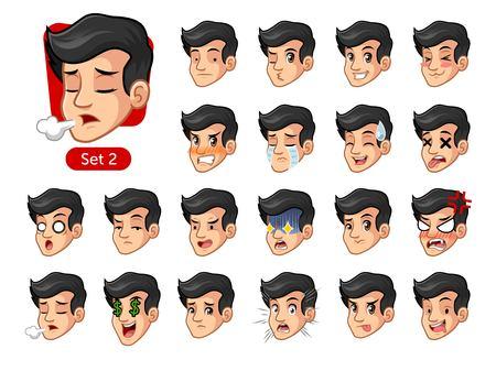 De tweede set van mannelijke gezichtsemoties cartoon karakter ontwerp met zwart haar en verschillende uitdrukkingen, verdrietig, moe, boos, sterven, huurling, teleurgesteld, geschokt, lekker, etc. vector illustratie.