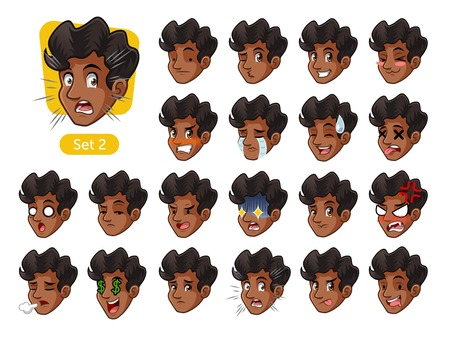 The second set of male facial emotions cartoon character design with curly hair and different expressions, sad, tired, angry, die, mercenary, disappointed, shocked, tasty, etc. vector illustration.