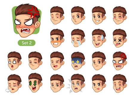 The second set of male facial emotions cartoon character design with red hair and different expressions, sad, tired, angry, die, mercenary, disappointed, shocked, tasty, etc. vector illustration.
