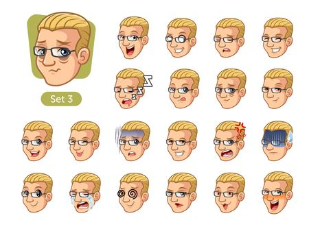 The third set of male facial emotions cartoon character design with blonde hair and different expressions, cry, sleep, pissed of, embarrassed, fear, triumph, confused, fear, etc. vector illustration.