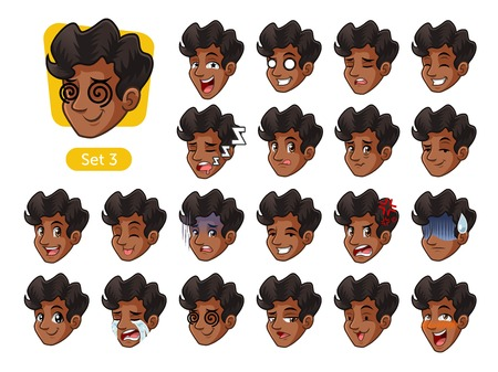 The third set of male facial emotions cartoon character design with curly hair and different expressions, cry, sleep, pissed of, embarrassed, fear, triumph, confused, fear, etc. vector illustration. 矢量图像