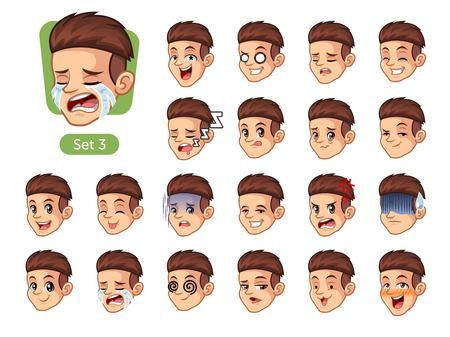 Le troisième ensemble de conception de personnages de dessin animé avec des cheveux roux et différentes expressions, pleurer, dormir, énervé, embarrassé, peur, triomphe, confus, peur, etc.
