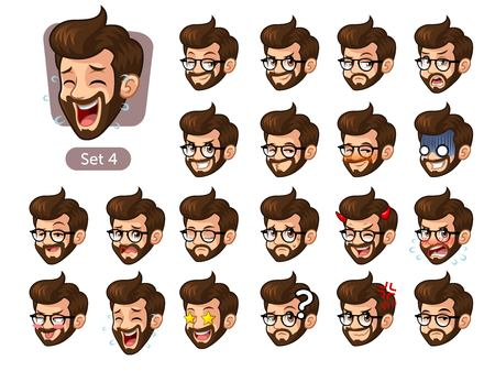 The fourth set of bearded hipster facial emotions cartoon character design with glasses and different expressions, happy, bored, scary, pervy, uptight, disgust, amaze, silly, mad, etc. vector illustration.