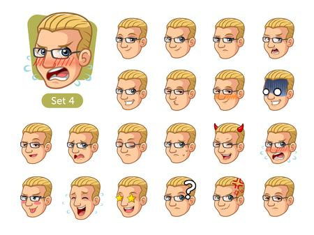 The fourth set of male facial emotions cartoon character design with blonde hair and different expressions, happy, bored, scary, pervy, uptight, disgust, amaze, silly, mad, etc. vector illustration.