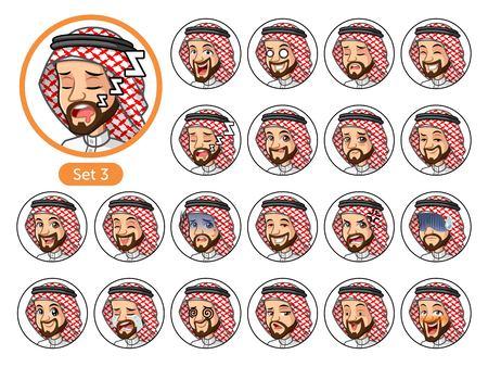 De derde set Saoedi-Arabische man-personageontwerp avatars met verschillende gezichtsemoties en -uitingen, huilen, slapen, pissig van, beschaamd, angst, triomf, verward, angst, etc.